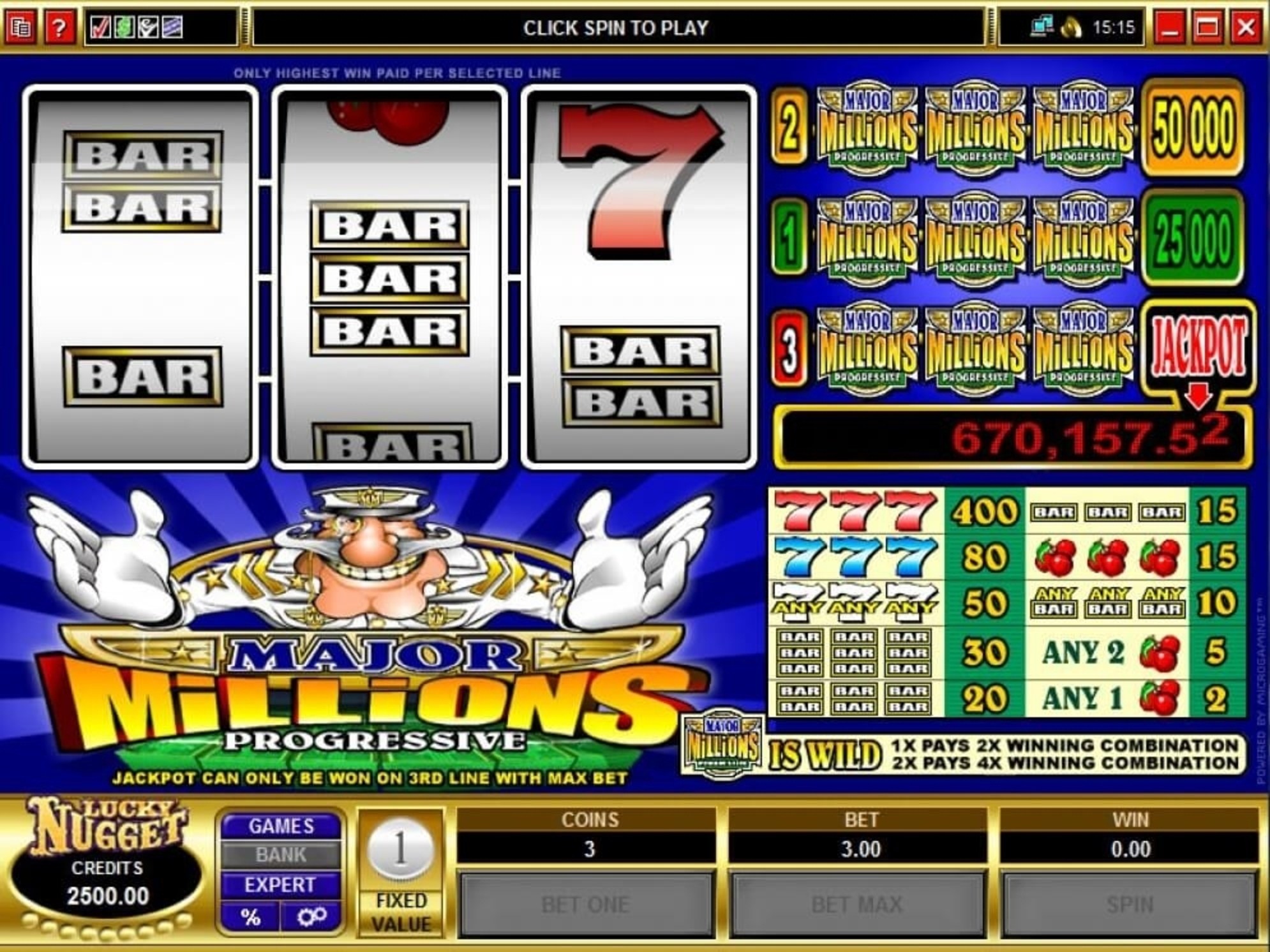 Se Major Millions Online Slot Demo Game, Microgaming
